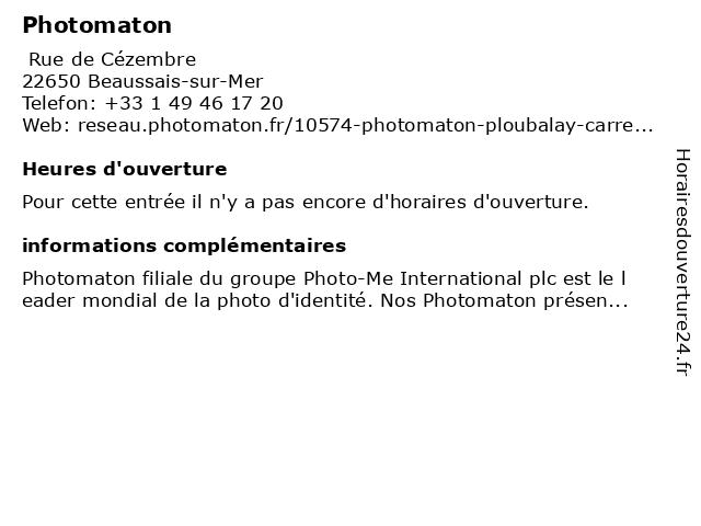 Photomaton à Beaussais-sur-Mer: adresse et heures d'ouverture