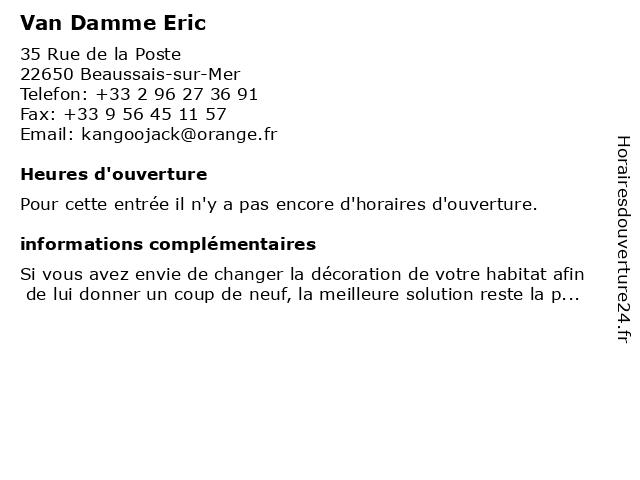 Van Damme Eric à Beaussais-sur-Mer: adresse et heures d'ouverture