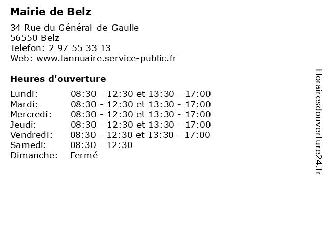 Mairie de Belz à Belz: adresse et heures d'ouverture