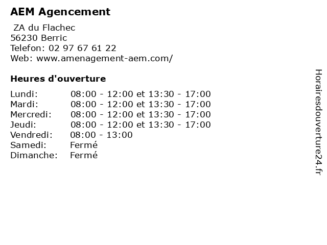 AEM Agencement à Berric: adresse et heures d'ouverture