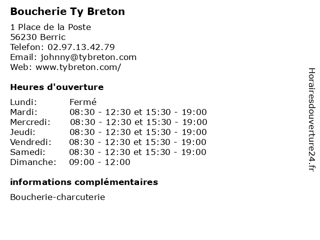 Boucherie Ty Breton à Berric: adresse et heures d'ouverture