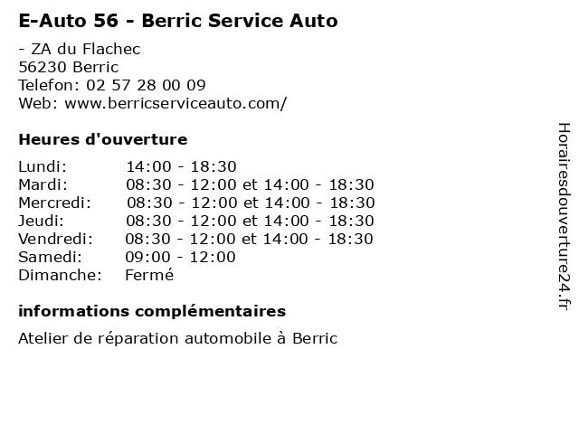 E-Auto 56 - Berric Service Auto à Berric: adresse et heures d'ouverture