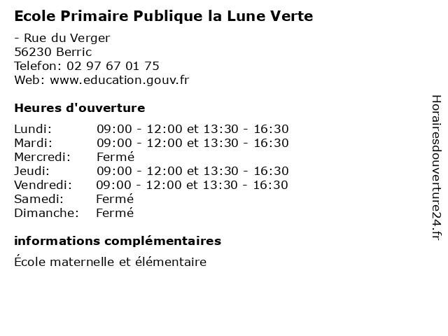 Ecole Primaire Publique la Lune Verte à Berric: adresse et heures d'ouverture