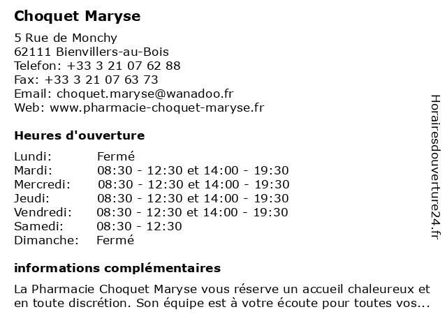 Choquet Maryse à Bienvillers-au-Bois: adresse et heures d'ouverture