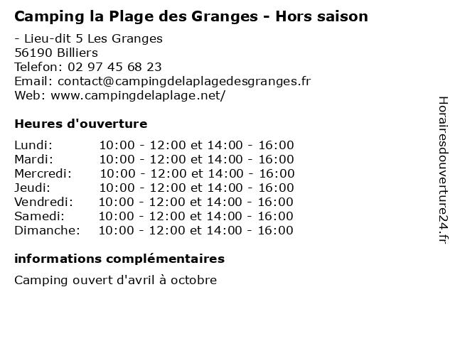 Camping la Plage des Granges - Hors saison à Billiers: adresse et heures d'ouverture