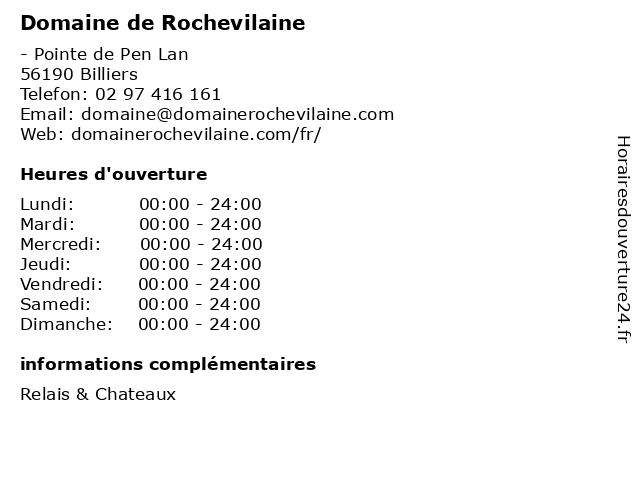 Domaine de Rochevilaine à Billiers: adresse et heures d'ouverture