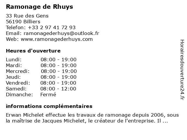 Ramonage de Rhuys à Billiers: adresse et heures d'ouverture