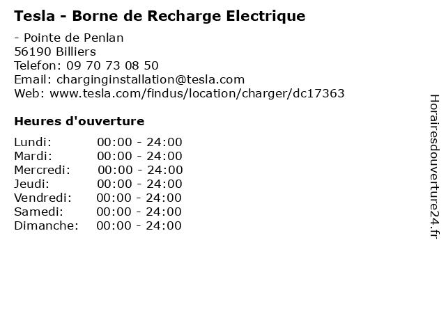 Tesla - Borne de Recharge Electrique à Billiers: adresse et heures d'ouverture