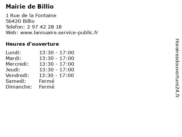 Mairie de Billio à Billio: adresse et heures d'ouverture