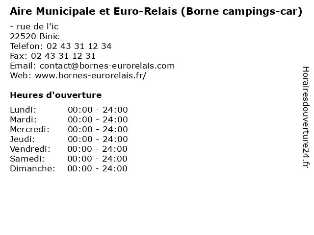 Aire Municipale et Euro-Relais (Borne campings-car) à Binic: adresse et heures d'ouverture