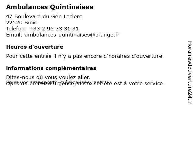 Ambulances Quintinaises à Binic: adresse et heures d'ouverture