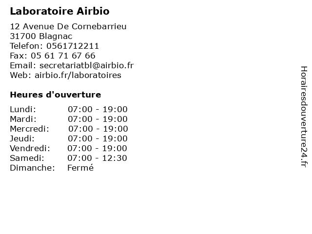 Á… Horaires D Ouverture Laboratoire Airbio 12 Avenue De Cornebarrieu A Blagnac