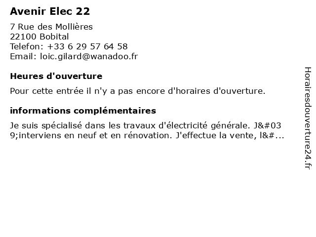 Avenir Elec 22 à Bobital: adresse et heures d'ouverture