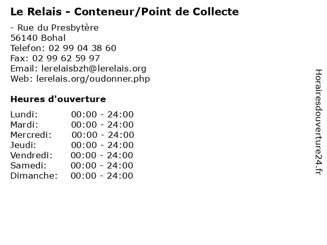 Le Relais - Conteneur/Point de Collecte à Bohal: adresse et heures d'ouverture