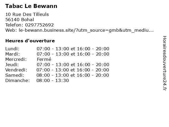 Tabac Le Bewann à Bohal: adresse et heures d'ouverture