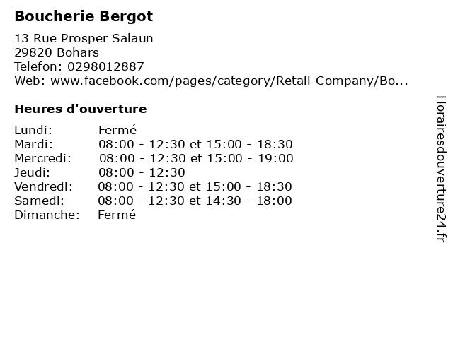 Boucherie Bergot à Bohars: adresse et heures d'ouverture