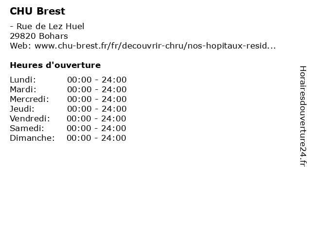 CHU Brest à Bohars: adresse et heures d'ouverture