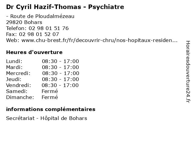 Dr Cyril Hazif-Thomas - Psychiatre à Bohars: adresse et heures d'ouverture