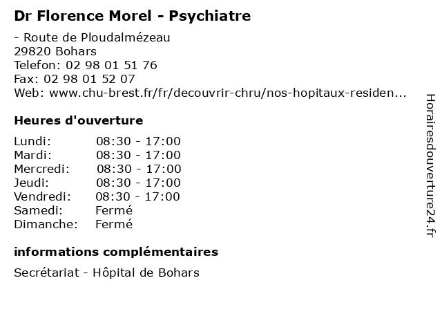 Dr Florence Morel - Psychiatre à Bohars: adresse et heures d'ouverture