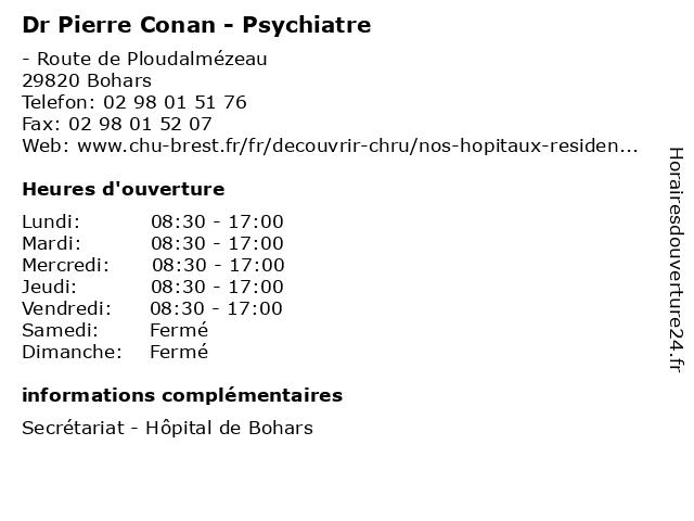 Dr Pierre Conan - Psychiatre à Bohars: adresse et heures d'ouverture