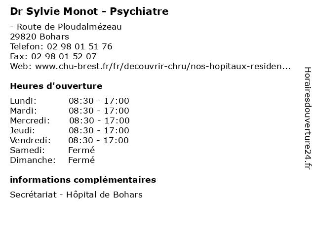 Dr Sylvie Monot - Psychiatre à Bohars: adresse et heures d'ouverture