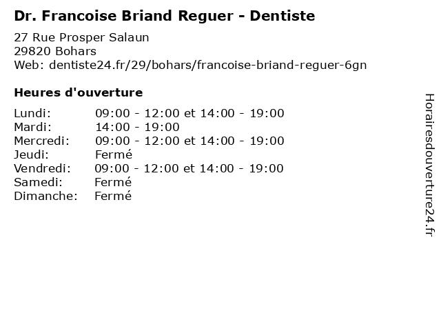 Dr. Francoise Briand Reguer - Dentiste à Bohars: adresse et heures d'ouverture