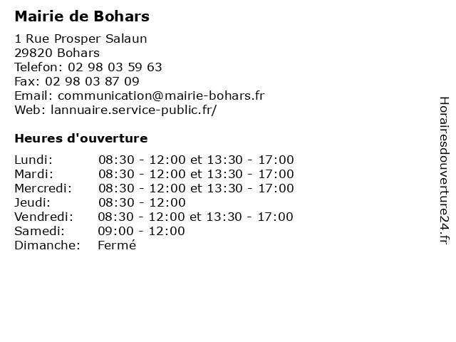 Mairie de Bohars à Bohars: adresse et heures d'ouverture