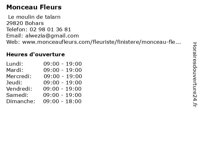 Monceau Fleurs à Bohars: adresse et heures d'ouverture