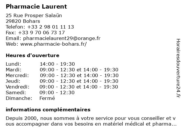 Pharmacie Laurent à Bohars: adresse et heures d'ouverture