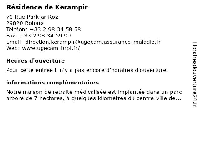 Residence de KERAMPIR Maison De Retrait à Bohars: adresse et heures d'ouverture