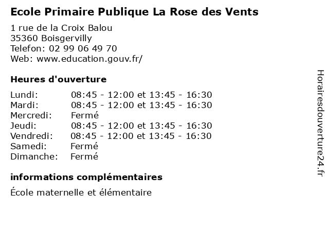 Ecole Primaire Publique La Rose des Vents à Boisgervilly: adresse et heures d'ouverture