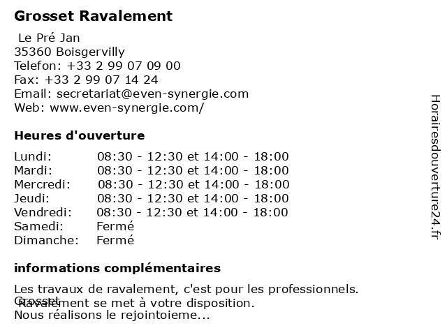 Grosset Ravalement à Boisgervilly: adresse et heures d'ouverture
