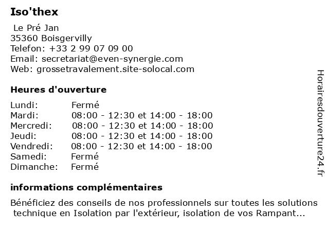 Iso'thex à Boisgervilly: adresse et heures d'ouverture