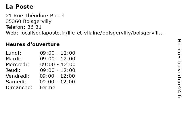 La Poste à Boisgervilly: adresse et heures d'ouverture