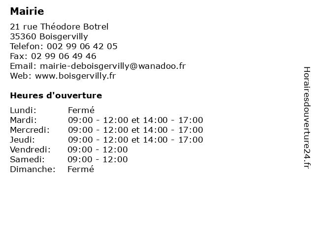 Mairie à Boisgervilly: adresse et heures d'ouverture
