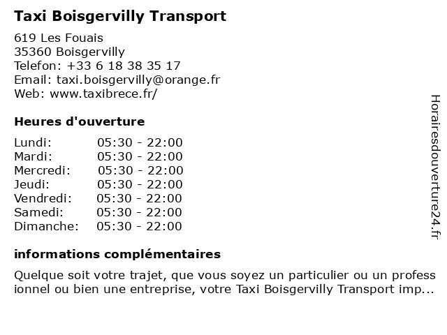 Taxi Boisgervilly Transport à Boisgervilly: adresse et heures d'ouverture