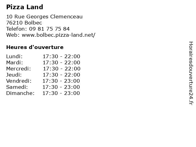 Pizza Land à Bolbec: adresse et heures d'ouverture
