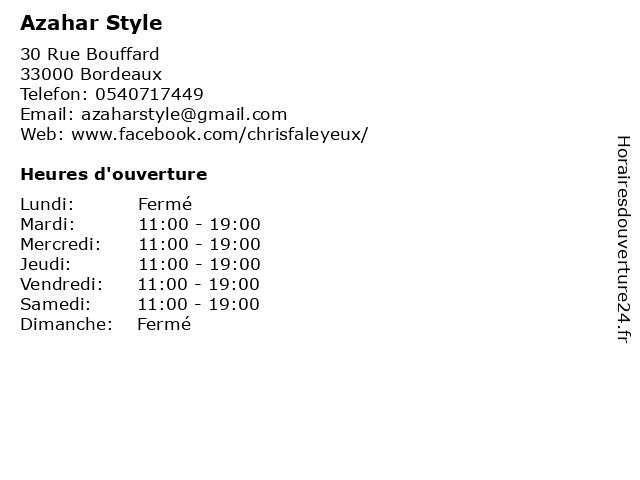 Azahar Style à Bordeaux: adresse et heures d'ouverture