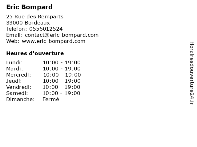 Eric Bompard à Bordeaux: adresse et heures d'ouverture