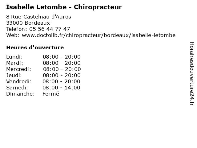 Isabelle Letombe - Chiropracteur - Secretariat à Bordeaux: adresse et heures d'ouverture