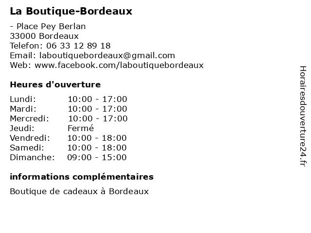 La Boutique-Bordeaux à Bordeaux: adresse et heures d'ouverture