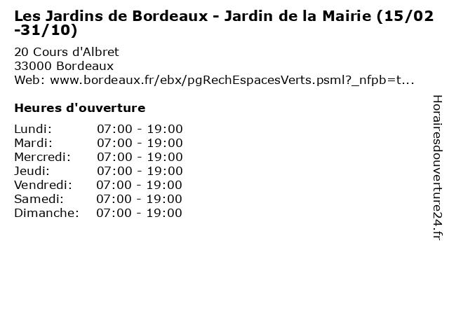Les Jardins de Bordeaux - Jardin de la Mairie (15/02-31/10) à Bordeaux: adresse et heures d'ouverture