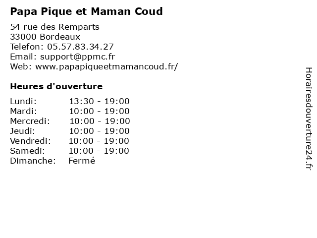 Papa Pique et Maman Coud à Bordeaux: adresse et heures d'ouverture
