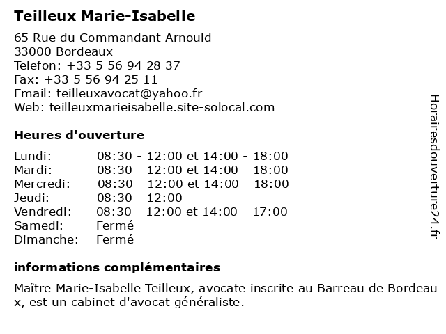 Teilleux Marie-Isabelle à Bordeaux: adresse et heures d'ouverture