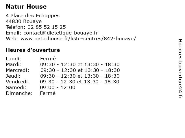 Natur House à Bouaye: adresse et heures d'ouverture