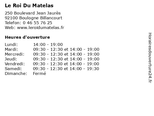 Le Roi Du Matelas à Boulogne Billancourt: adresse et heures d'ouverture