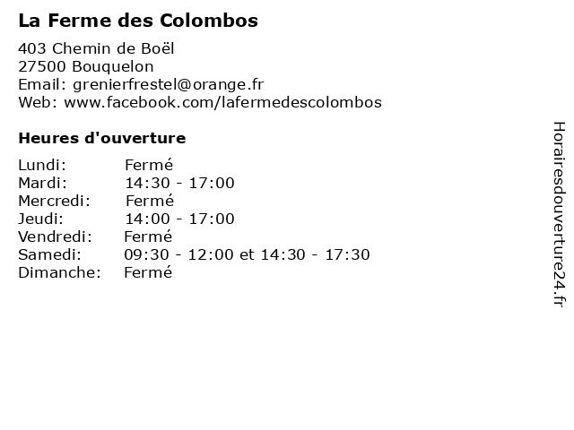 La Ferme des Colombos à Bouquelon: adresse et heures d'ouverture