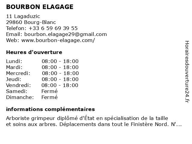 BOURBON ELAGAGE à Bourg-Blanc: adresse et heures d'ouverture