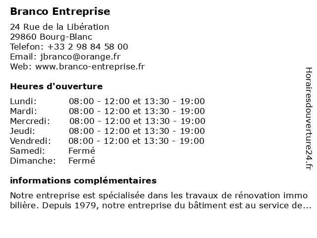 Branco Entreprise à Bourg-Blanc: adresse et heures d'ouverture