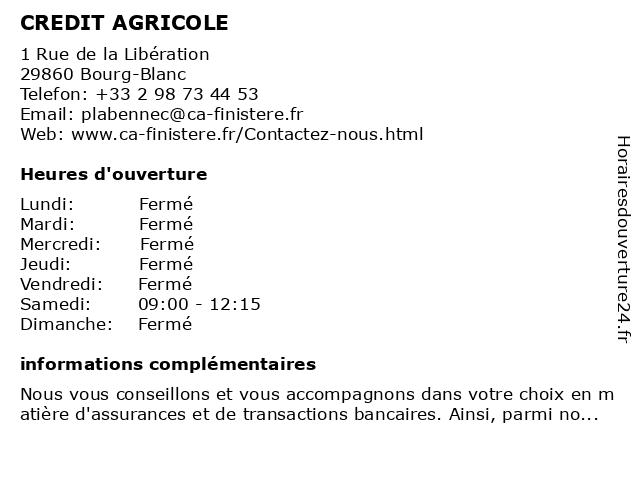 CREDIT AGRICOLE à Bourg-Blanc: adresse et heures d'ouverture